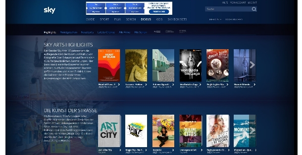 Sky Arts beim Streaming-Dienst Sky Ticket