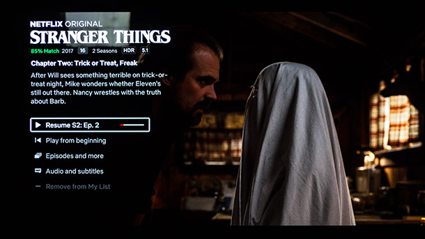 Panasonic TX-65FZW954 Screenshot Netflix